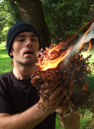 Bushcraft Survival Expert Showing a stag party how to light fire