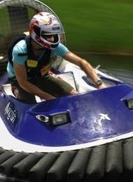 A Man Hovercraft Racing