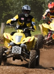 Yellow Quad Bikes Ridden By A Stag Party