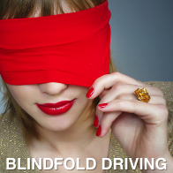 Lady Wearing Red Lipstick and Blindfold