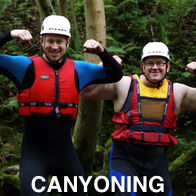 2 Men on a stag do Canyoning