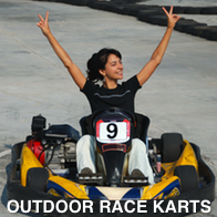 Lady Winning At Outdoor Karts