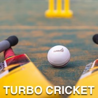 Cricket ball with bats and wickets in the far distance, ball states Turbo cricket 10 on it