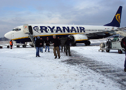Stag Party getting off a Ryanair plane