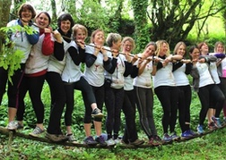 A Huge Hen Party taking part in an Assault Course