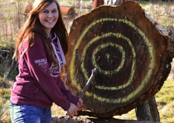 A Lady Axe Throwing
