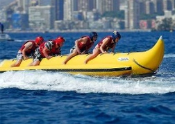 stag party On a Banana boat ride in Tenerife