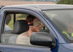 stag party taking part in Blindfold Driver