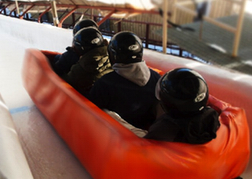 stag party taking part in Bobsleigh Riga