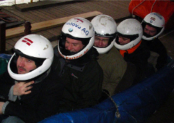 stag party taking part in Bob Sleighing Riga