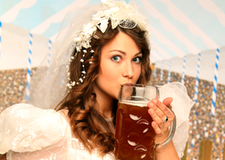 Bride Drinking a Stein of Lager