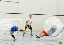 stag party playing Bubble Football Bouncing Off Each Other