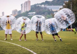 stag party playing Bubble Football Benidorm