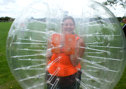 Bubble Football Lady on a hen weekend