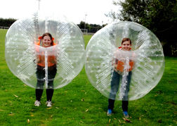 Bubble Football hen party inside the orb