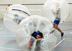 stag party playing indoor Bubble Football