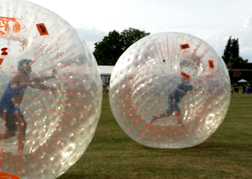 stag party playing Bubble Football outside