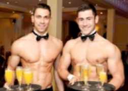 2 Butlers in the buff serving a Hen Party