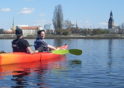 Stag Party canoeing on the river Daugava, Riga