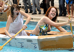 hen party doing the Cardboard Boat Challenge