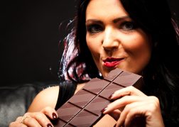 Female eating chocolate