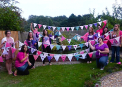 Hen Party showing their bunting