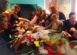Hen Party Doing a Craft