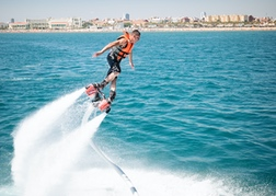 Man flyboarding in Valencia