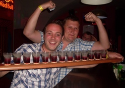 Row of shots and a stag party
