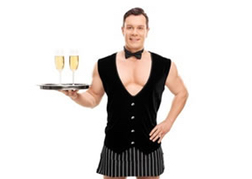 Male Stripper holding a drinks tray