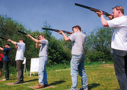 Stag Group playing Laser Clay Pigeon Shooting