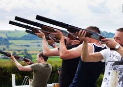 Stag Group playing Laser Clay Pigeon Shooting North Wales