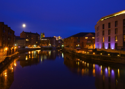 River at night in Leeds