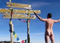 Naked man at the top of Mount Kilimanjaro