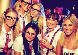 hen group in fancy dress in a nightclub