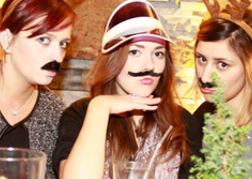 Hen Group in False Moustaches