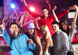 stag and hen group in a nightclub