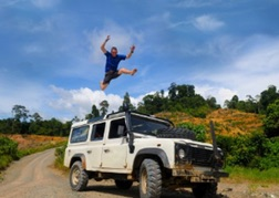Man jumping on 4x4