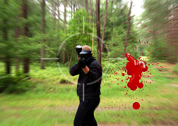 Paintball Man shooting at the camera