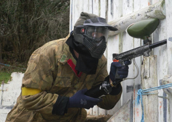 Paintball man in action