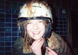 Women Wearing Muddy Helmet