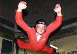 Man Indoor Skydiving