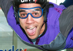 Man Indoor Skydiving Close Up