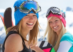 Snowboarders on a hen party