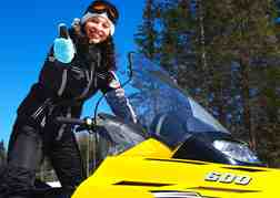 Female on Snowmobile