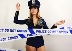 Stripper in police uniform ready to prank the stag
