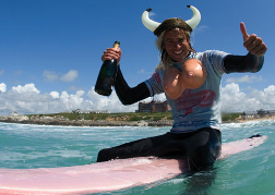Newquay Surfer Wearing Viking Hat