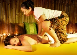 lady from a Hen party getting a Thai massage