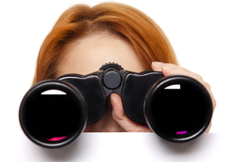 Lady with Binocular looking for treasure
