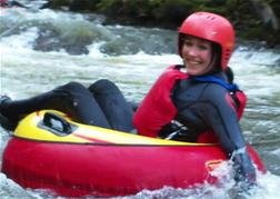 lady from a hen party White Water Tubing in Cardiff
